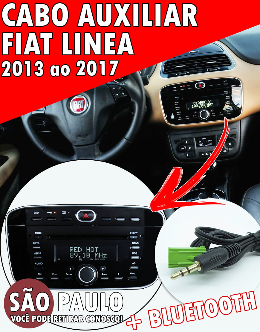 Cabo Auxiliar Fiat Linea 2013 Ao 2017 + Bluetooth