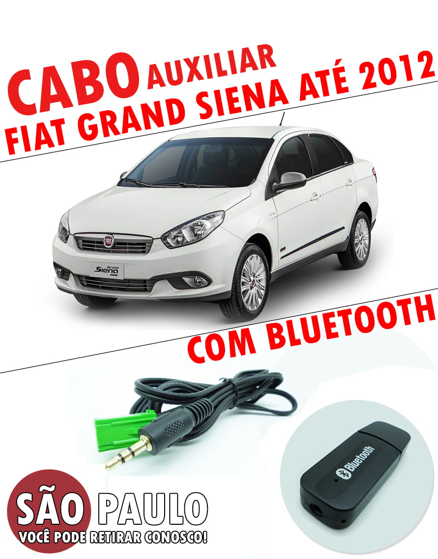 Cabo Auxiliar Grand Siena e Bluetooth com chave de remoção