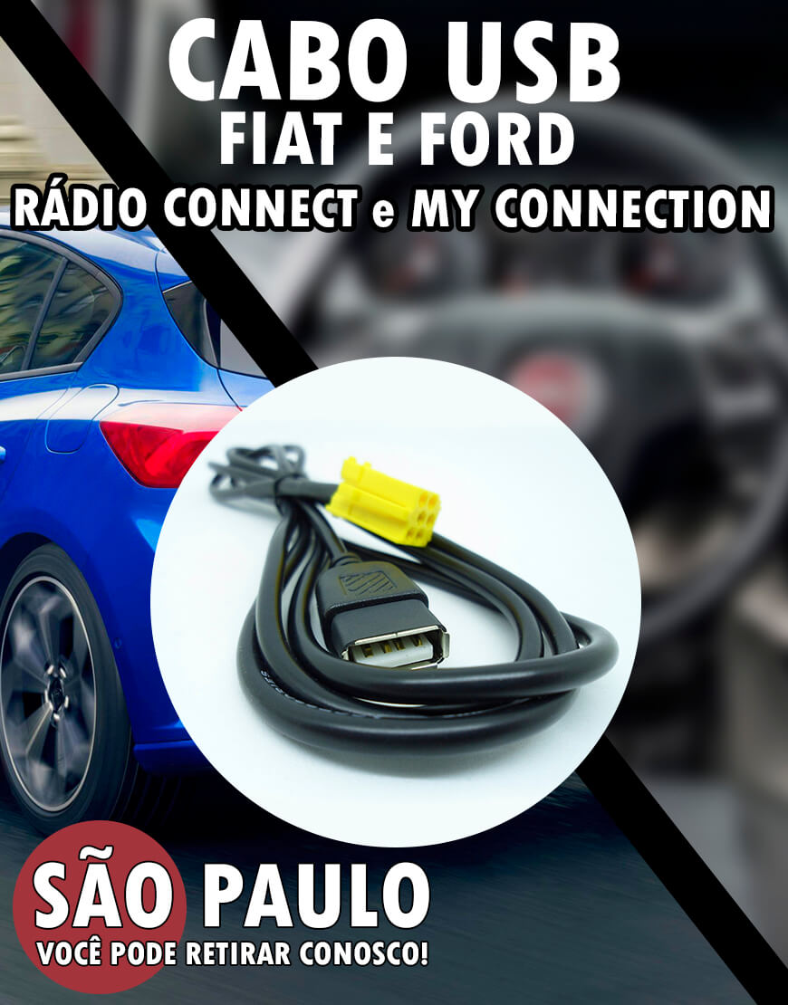 Cabo Usb Fiat Connect e Ford My Connection com Chave Remoção