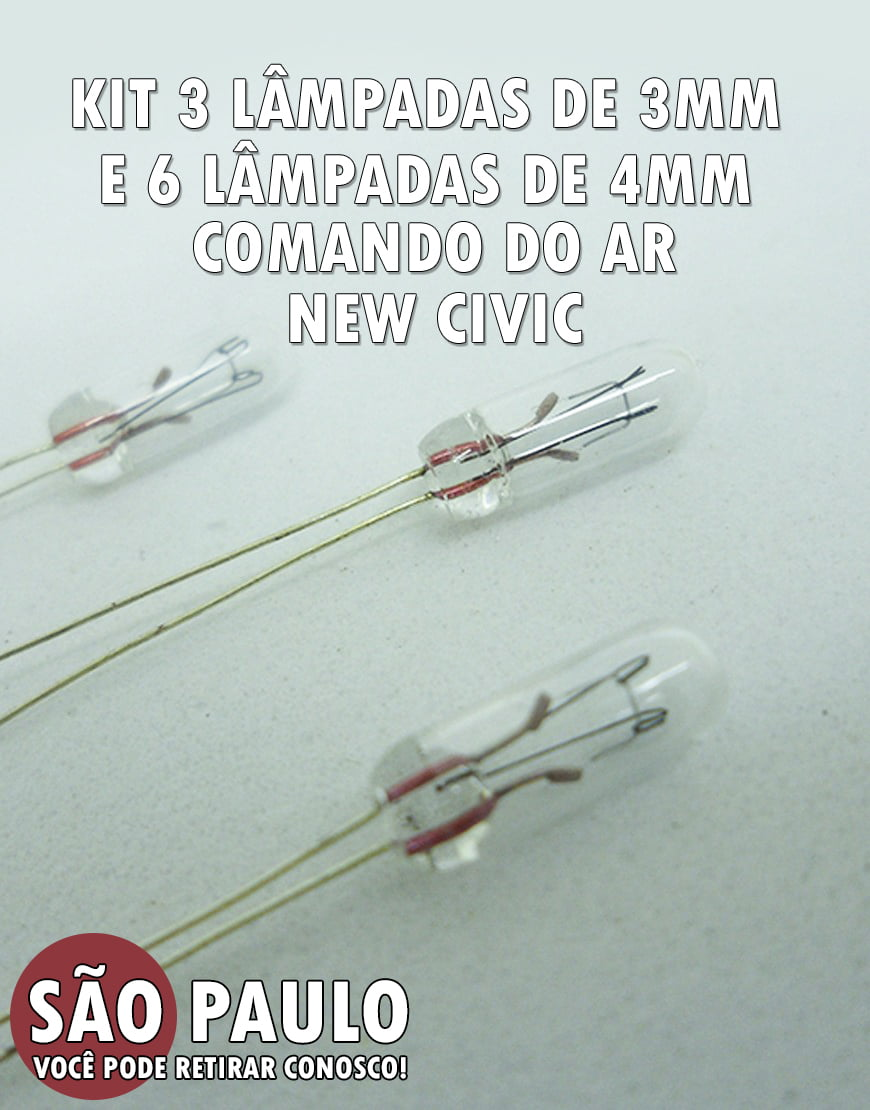Kit 3 Lâmpadas 3mm E 6 De 4mm Civic New Civic Entre Outros