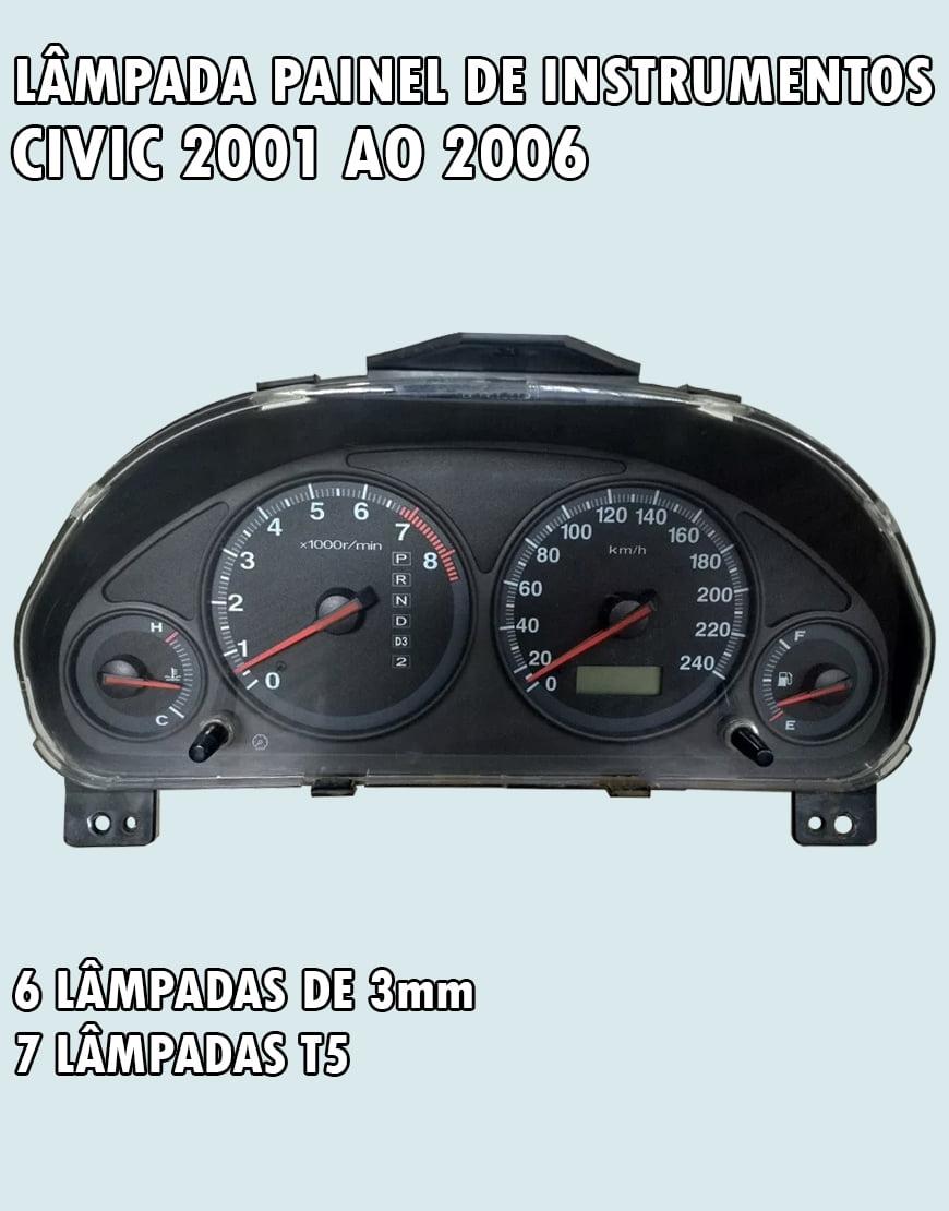Kit Lâmpadas Painel De Instrumentos Civic 2001 Ao 2006
