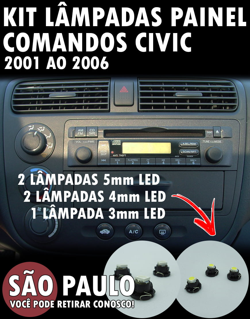 Kit Painel Civic 2001 Ao 2006 Lampadas 5mm 4mm E 3mm Led