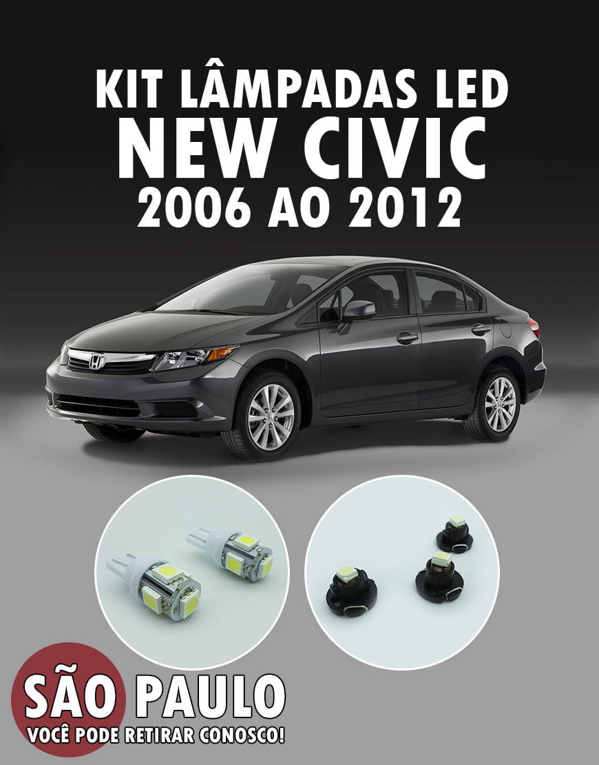 Kit Led New Civic 2006 Ao 2012 Ar Teto Porta e Cambio