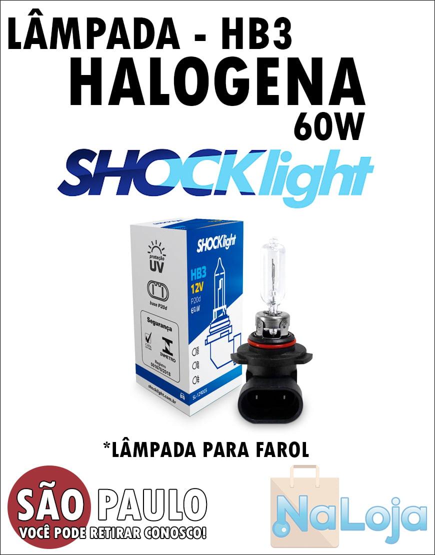 Lampada para Farol Halogena HB3 60w Shocklight