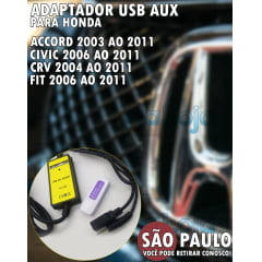 Adaptador Honda New Civic Fit CRV Accord USB AUX