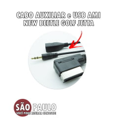 Cabo Auxiliar e USB Ami New Beetle Golf Jetta