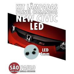 Kit 7 Lampadas Led 4mm Com Soquete Civic New Civic