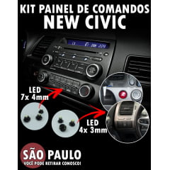 Kit Lâmpadas Painel De Comandos New Civic Led 4x 3mm e 7x 4mm