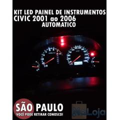 Kit Lâmpadas Led Painel De Instrumentos Civic 2001 Ao 2006