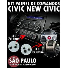 Kit Lâmpadas Painel De Comandos New Civic Led 3x 3mm e 7x 4mm