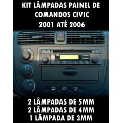 Kit Painel Civic 2001 Ao 2006 Lampadas 5mm 4mm E 3mm
